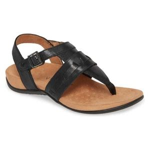 New Vionic Lupe Leather Adjustable T-Strap Sandals